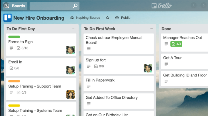Trello board and cards