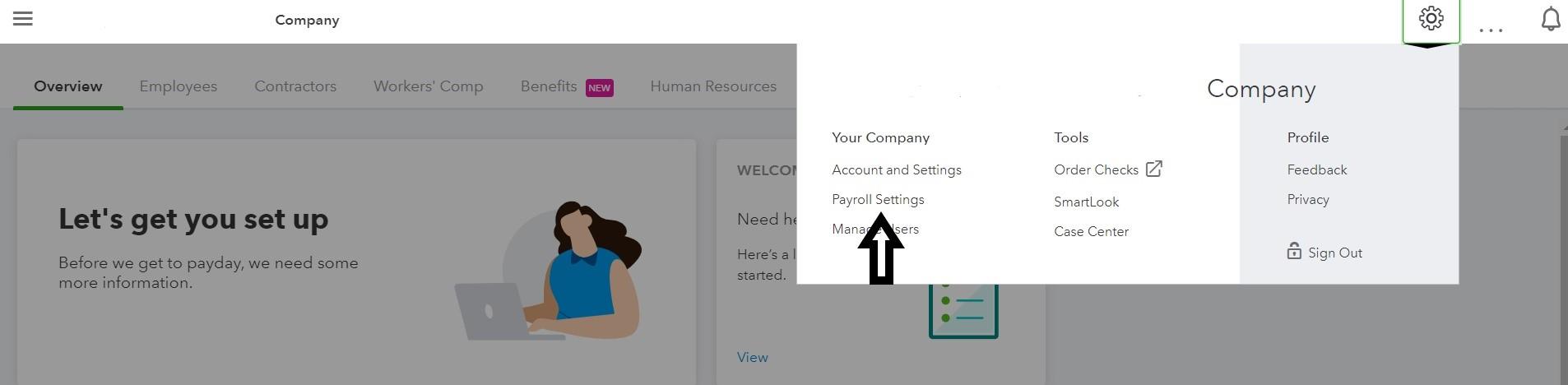 Location of Payroll Settings Menu under Settings