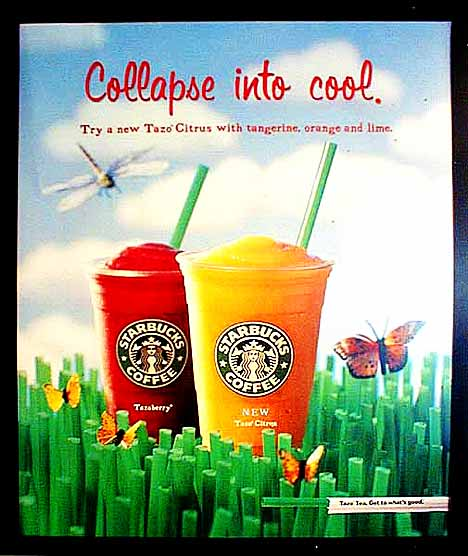 """Collapse into cool"" poster ad of Starbucks"