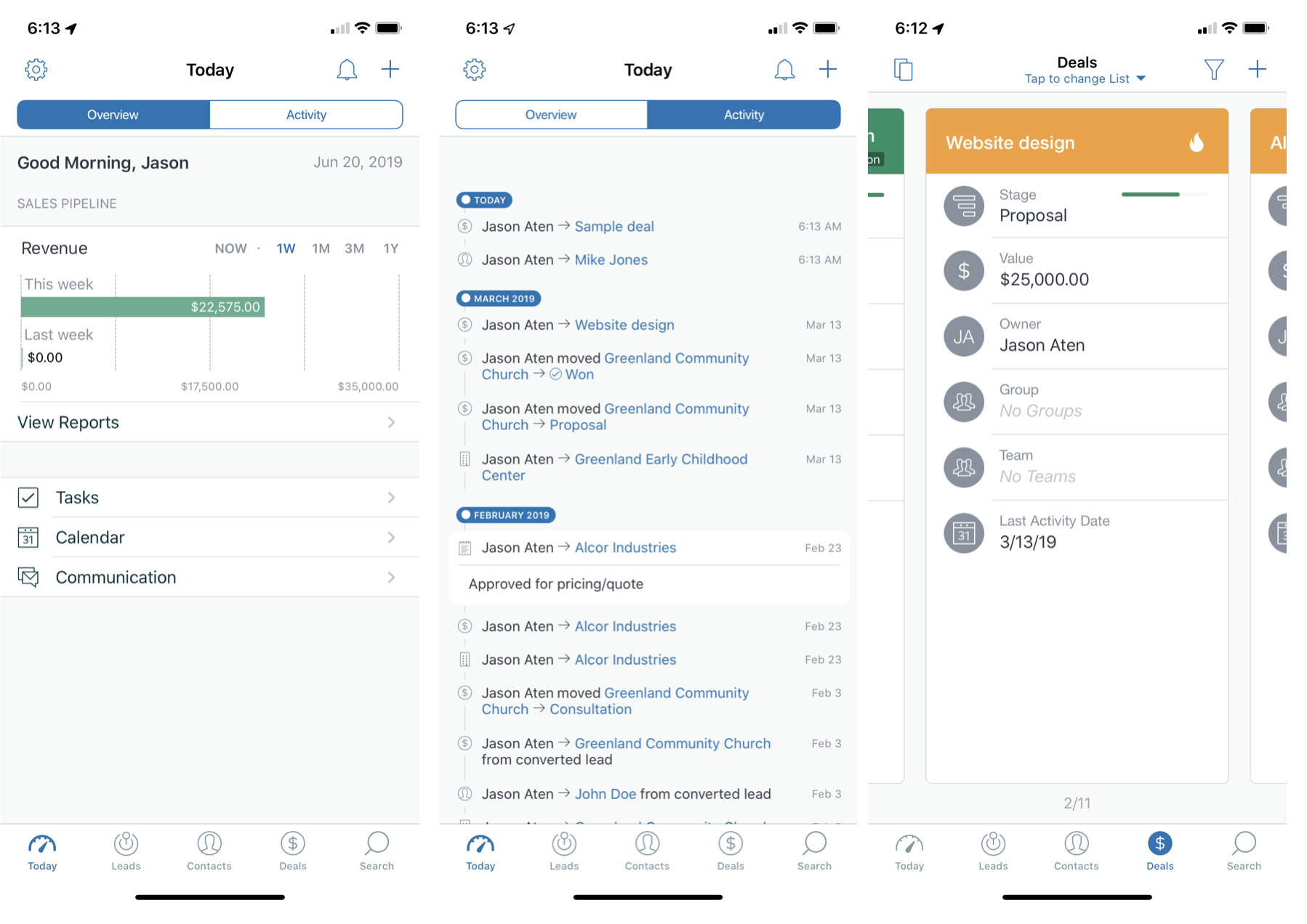 Mobile CRM interface from Zendesk Sell