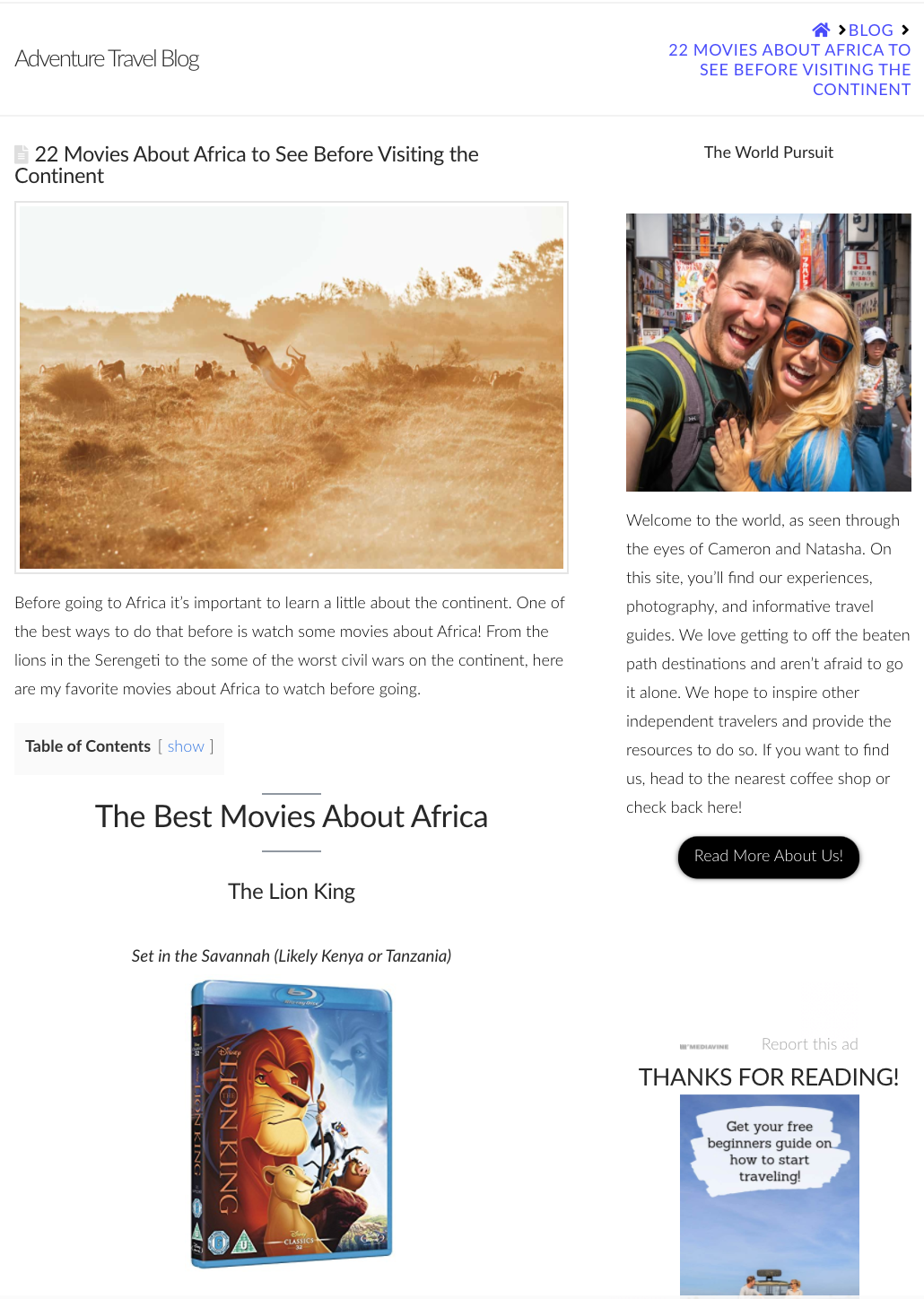 An example of a travel blogger with movies about Africa