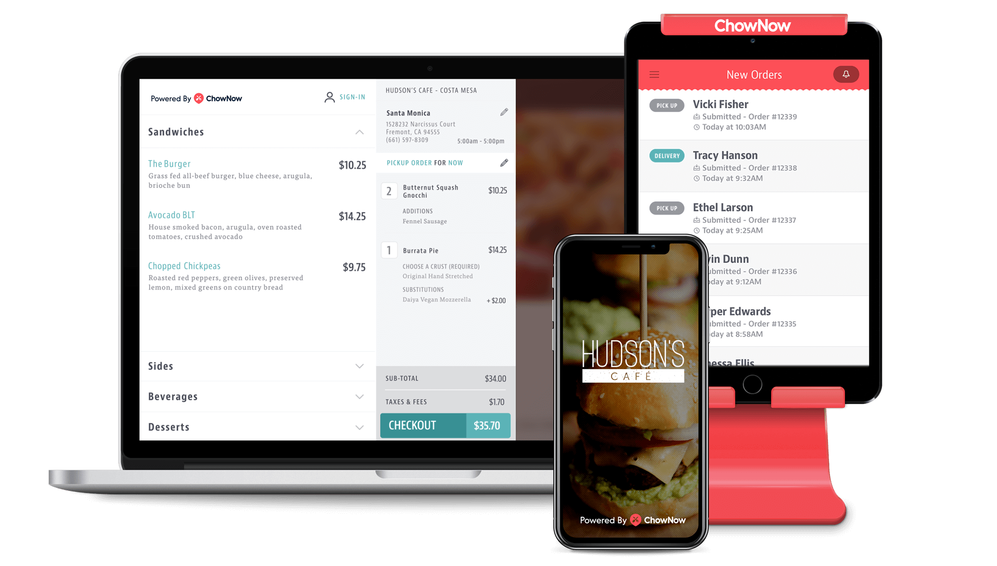 ChowNow apps on laptop, tablet and mobile phone.