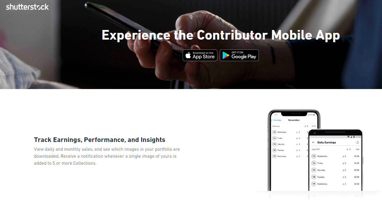 Shutterstock's Contributor Mobile App webpage
