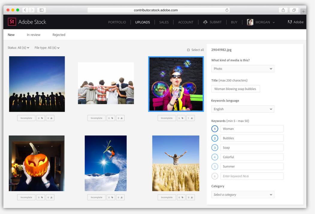 Adobe Stock Contributor's dashboard