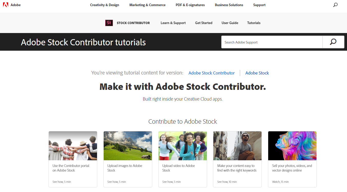 Adobe Stock Contributor tutorials page screenshot