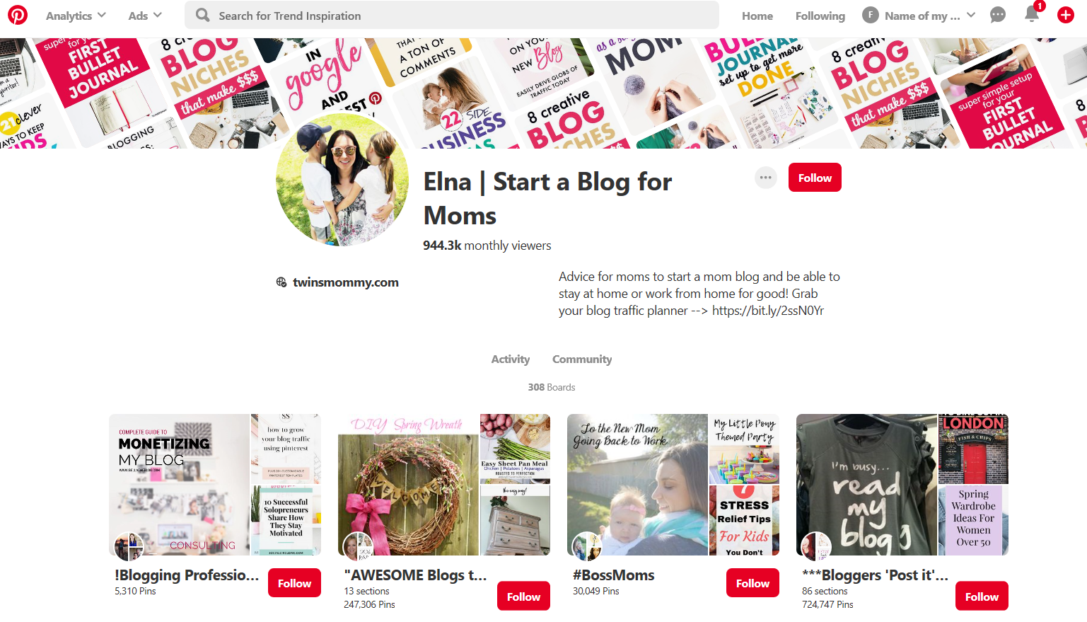 Elna from Start a Blog for Moms pinterest profile account