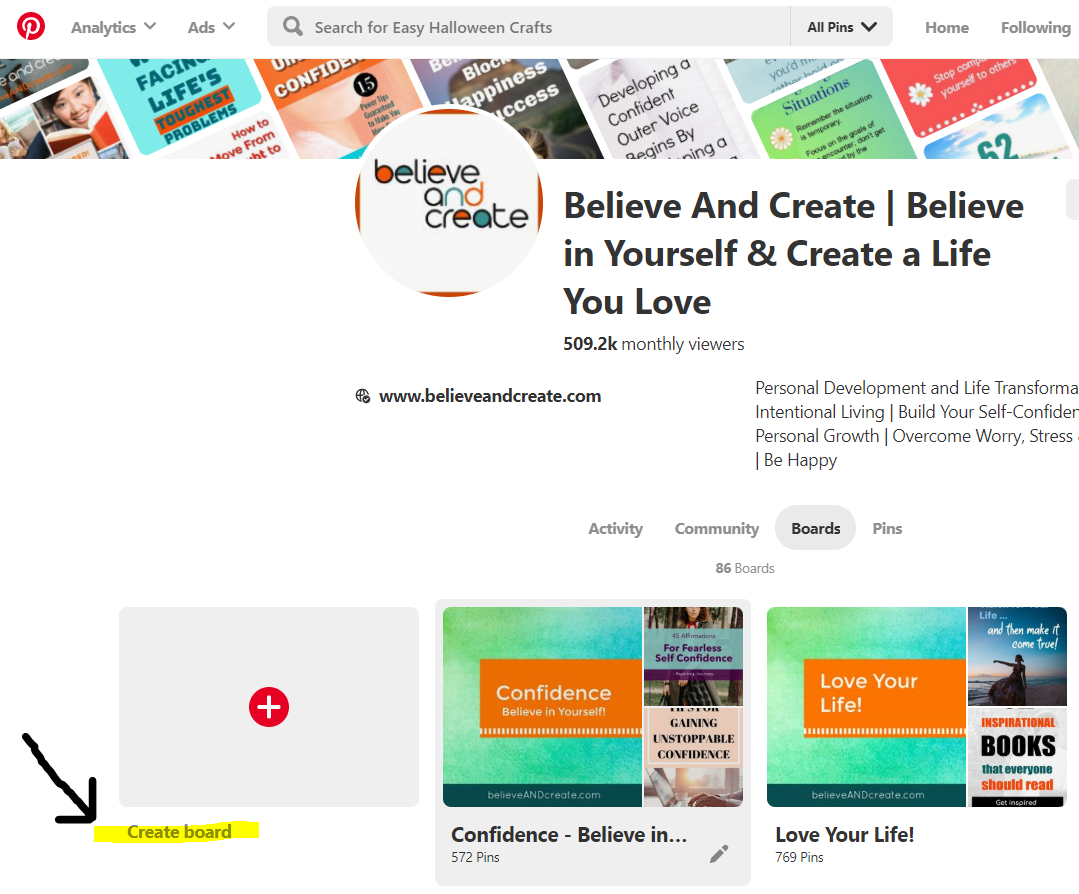 How to create a new board on Pinterest