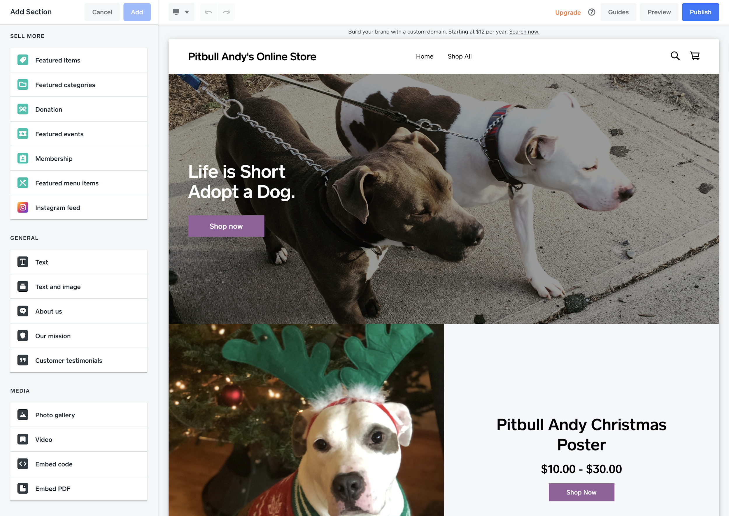 Square published online store with pitbulls