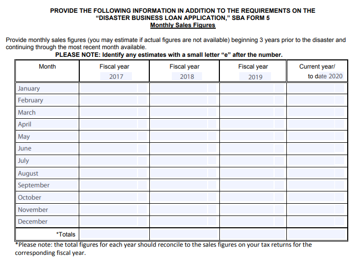 Disaster Business Loan Application Form