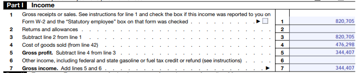 Part 1 Income section