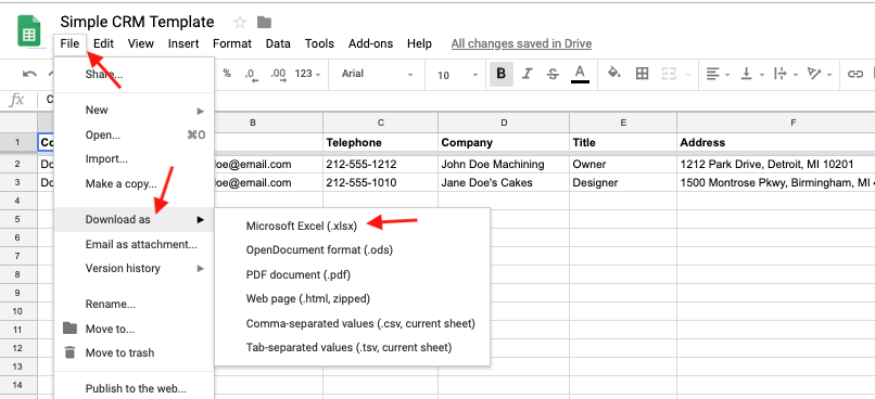 Download the template for Google Sheets or Microsoft Excel