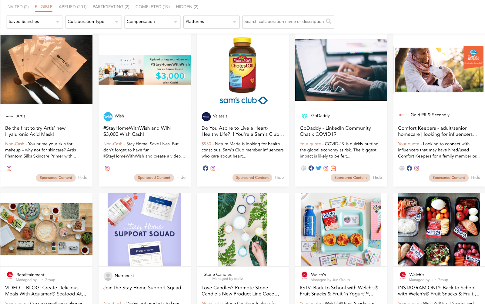 The Activate by Bloglovin' dashboard