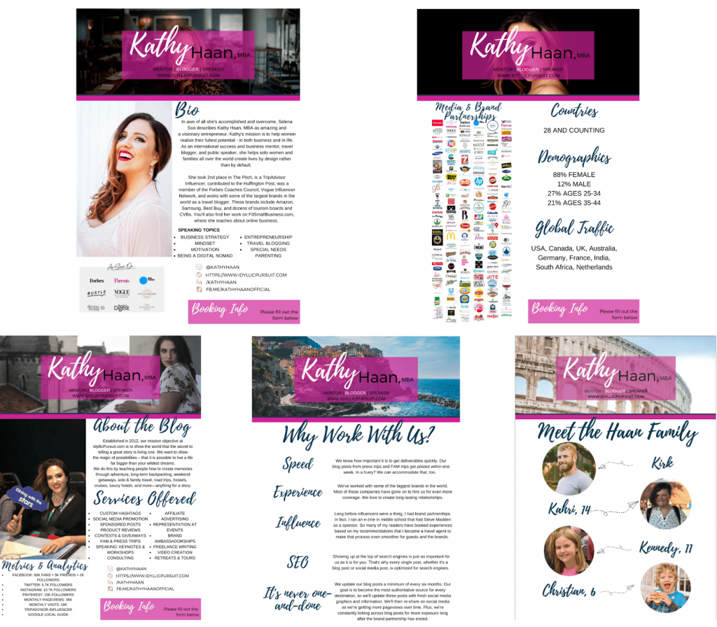 Sample of Kathy Hann's blog media kit