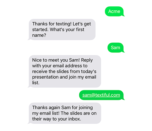 Sample Setup Text Messaging Service