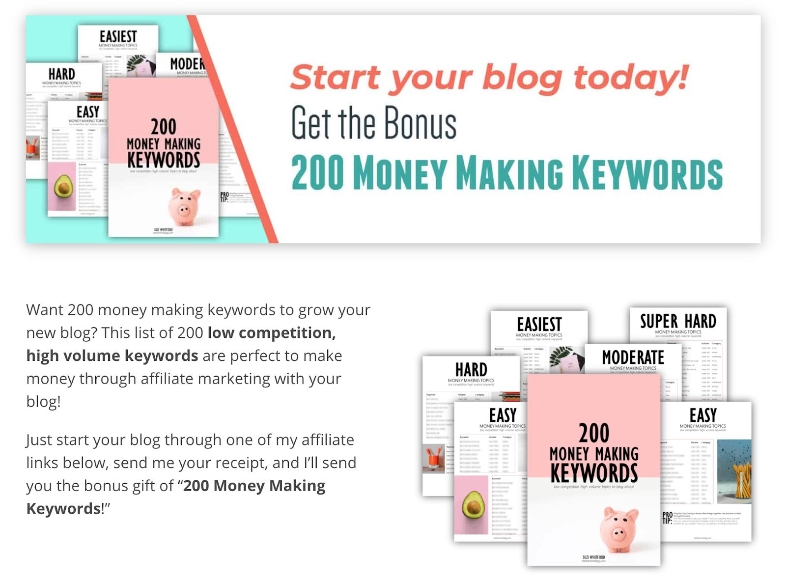 200 money making keywords
