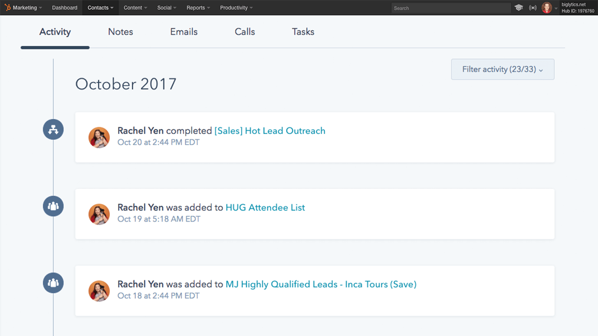 HubSpot lead tracking example