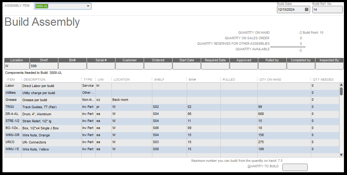 Quickbooks Build Assembly Screen