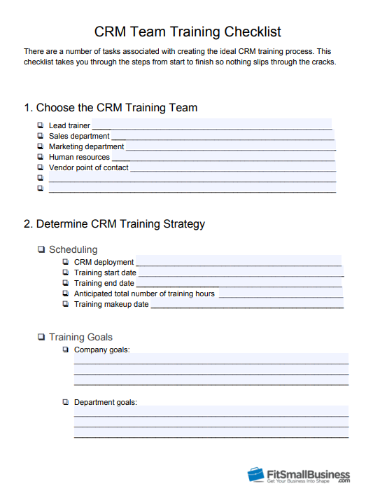 FSB CRM Training Checklist