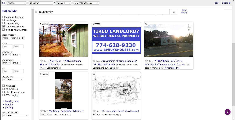 Craigslist Sample Property Listings