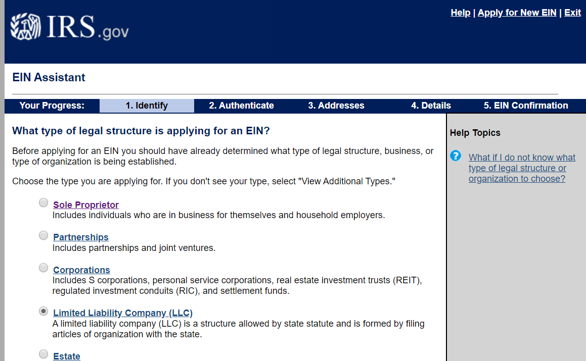 EIN IRS Website interface