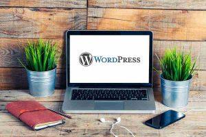 Wordpress logo on laptop screen