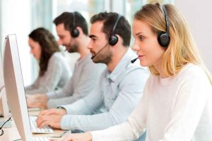 Call center agents taking calls