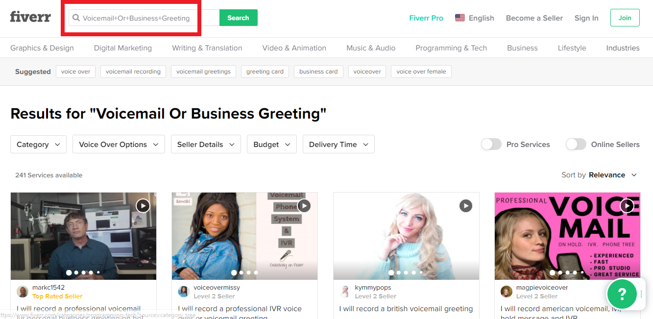 Fiverr Professional Marketplace Search