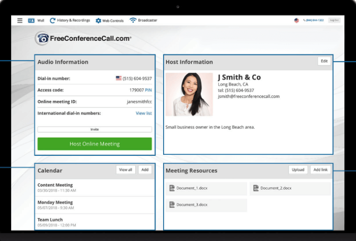 FreeConferenceCall.com dashboard