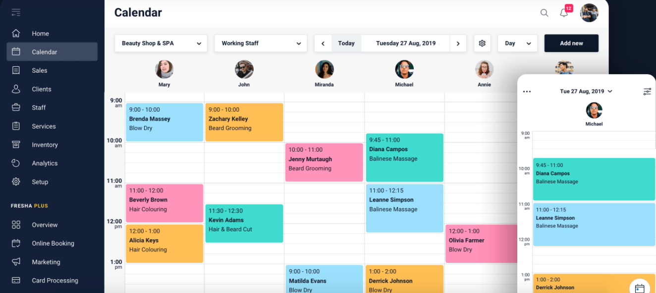 Fresha's calendar on the user dashboard