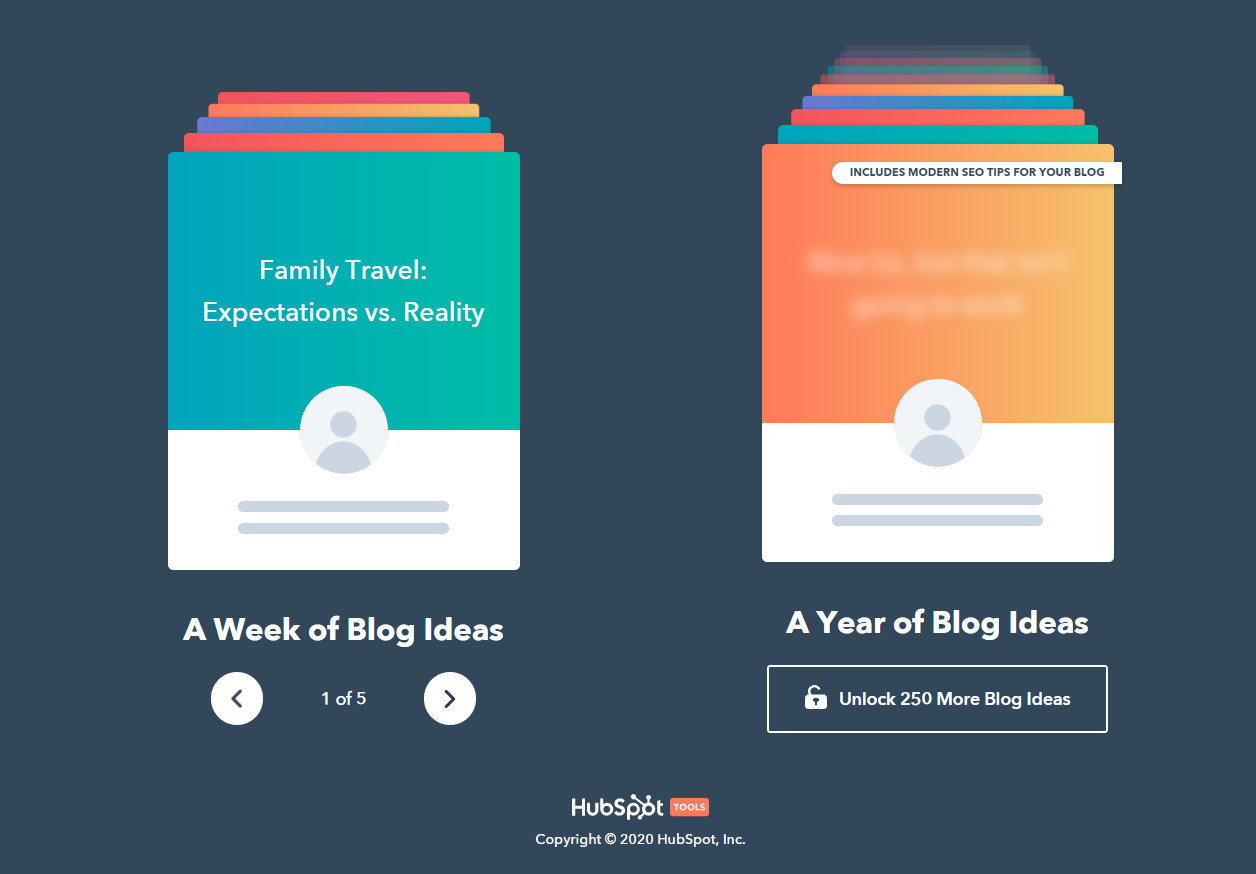 HubSpot's blog idea generator interface
