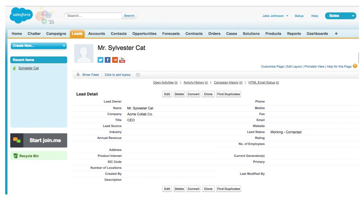 Join.me Salesforce integration - Lead Details