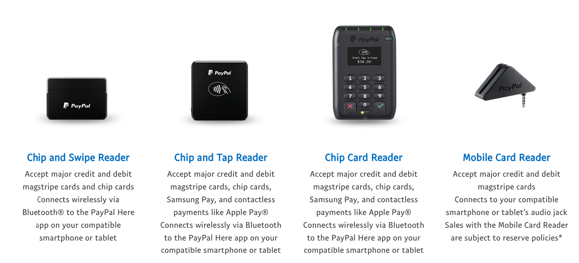 PayPal Here Types of Card Reader