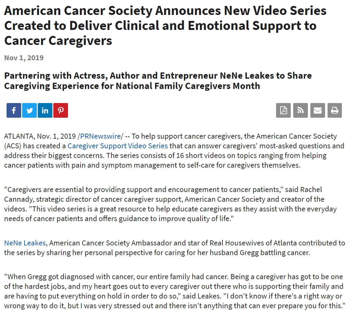American Cancer Society Press Release Example