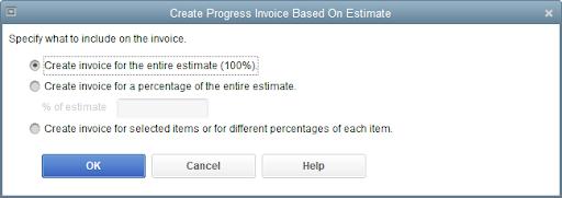 QuickBooks Premier Create Invoice from Estimate
