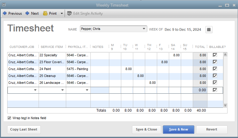QuickBooks Premier Timesheet Entry by Job and Service Item