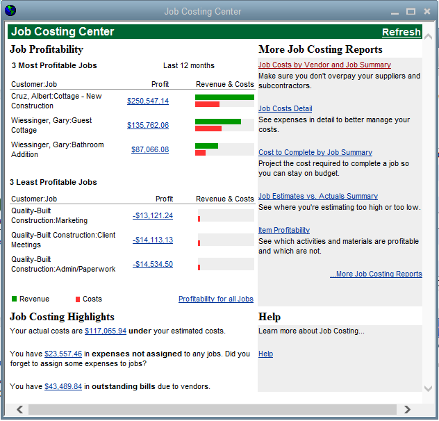 QuickBooks Premier Contractor Edition Job Costing Center