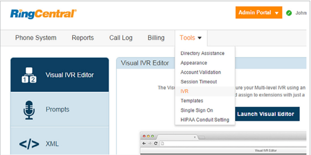 Selecting IVR tool in RingCentral