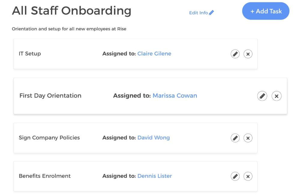 Rise Employee Onboarding's customizable task templates