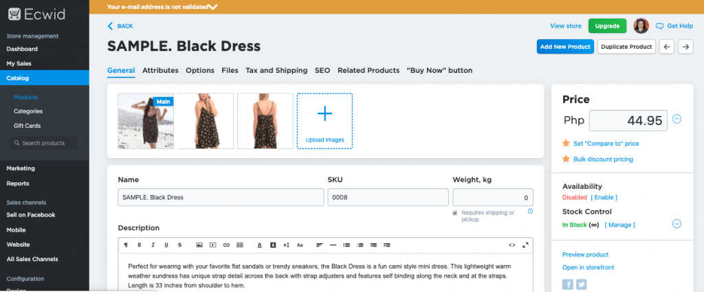 Screenshot of Ecwid Add Product