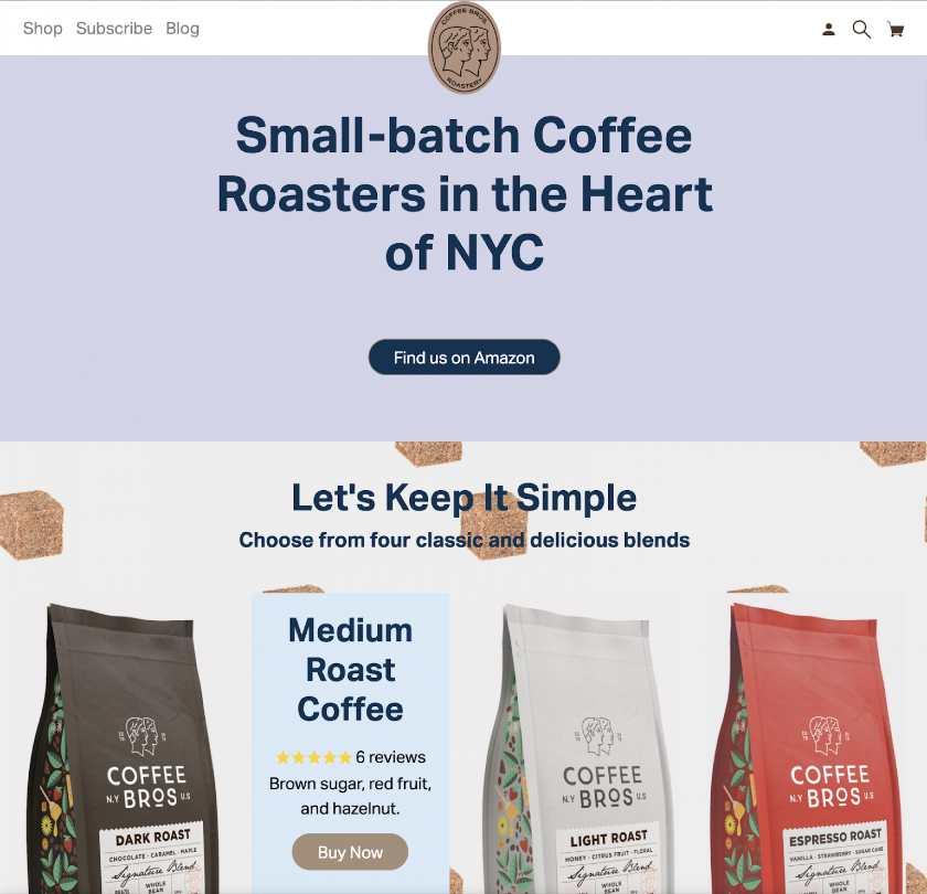 Screenshot of Coffeebros Interface