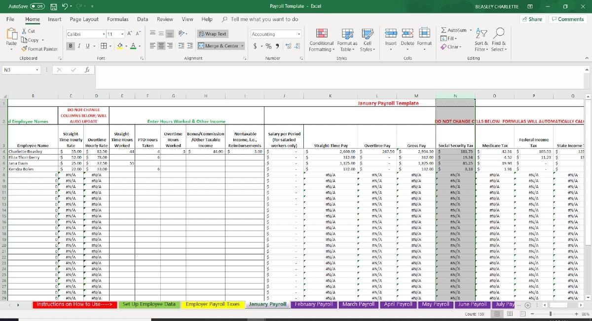 Screenshot of Employee Data Automatic Calculation