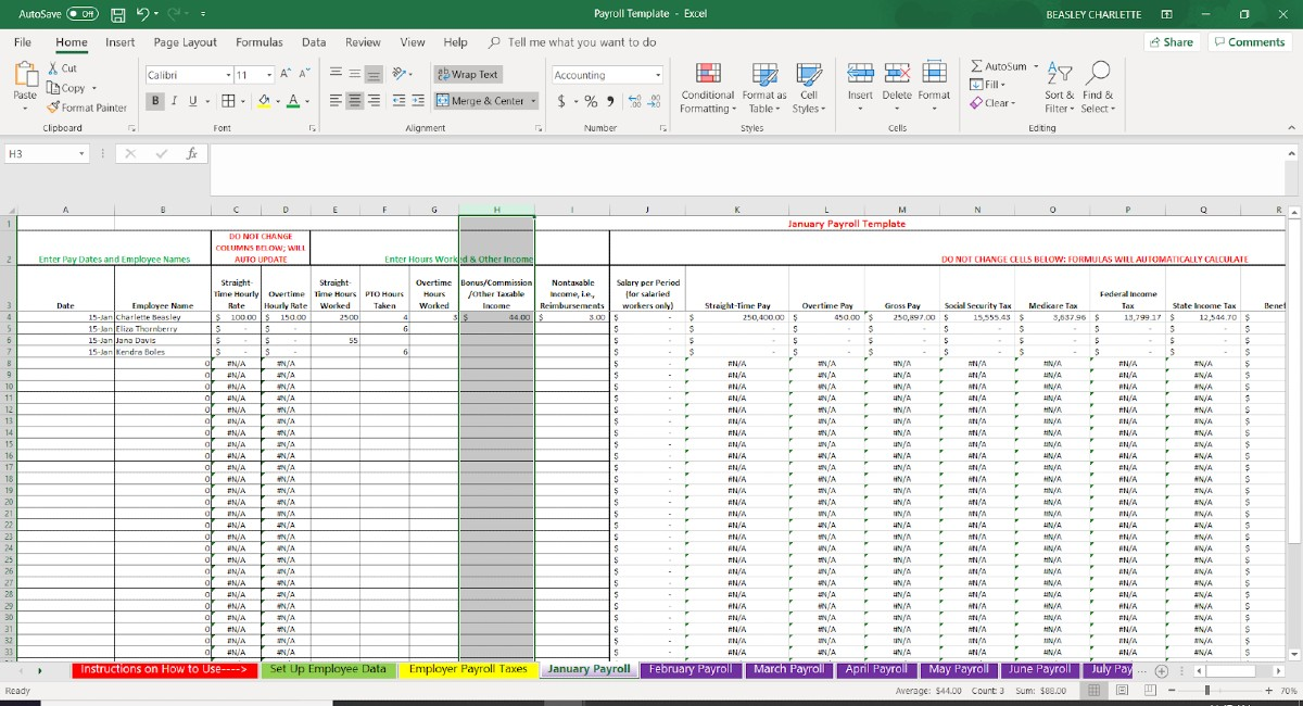 Screenshot of Employee Data Bonuses and Other Taxable Income