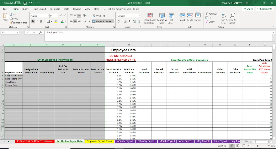 Employee Payroll Excel Template from fitsmallbusiness.com