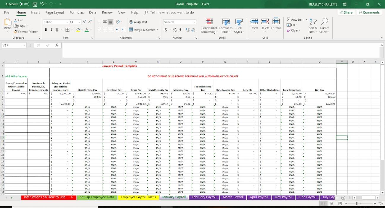Screenshot of Employee Data Net Pay