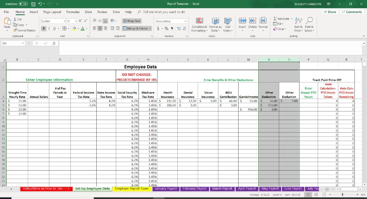 Screenshot of Employee Data Other Deduction Columns