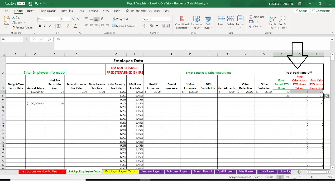 Screenshot of Employee Data Paid Time of Tracking