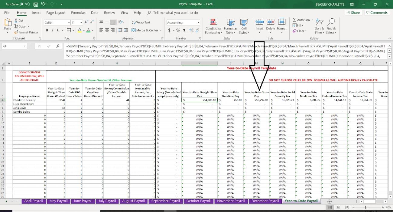 Screenshot of Employee Data Year to Date Payroll