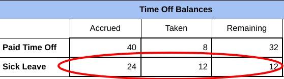 Screenshot of Sick Leave Balances Example