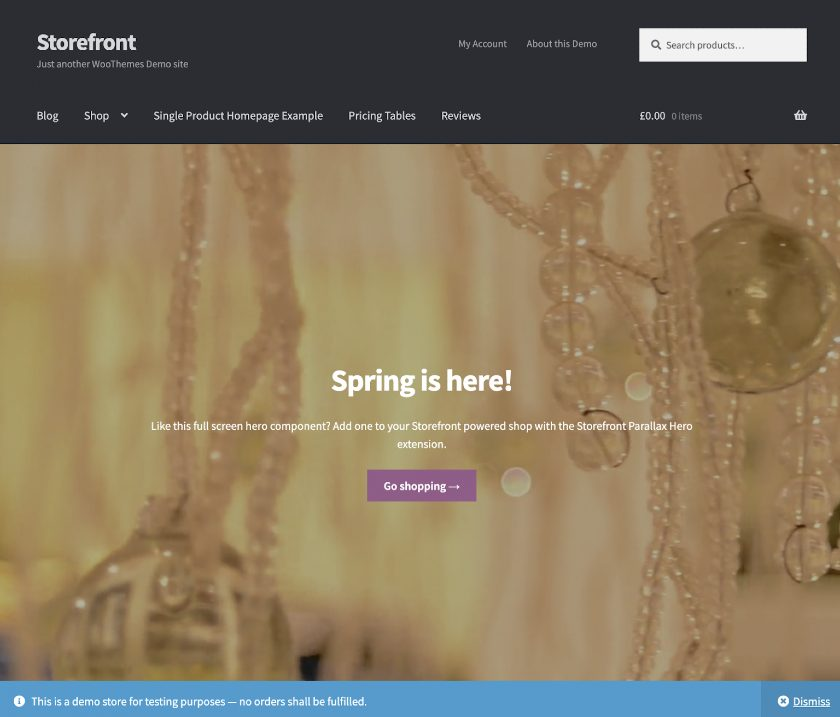 Screenshot of Storefront Interface