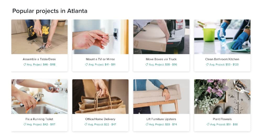 Screenshot of Task Rabbits Popular Project in Atlanta